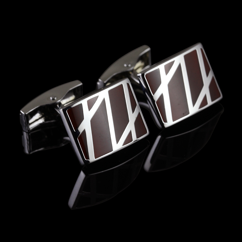 C-MAN Luxury Red Intersect gemelos shirt cufflink for mens Brand cuff buttons cuff links High Quality Silver abotoaduras Jewelry