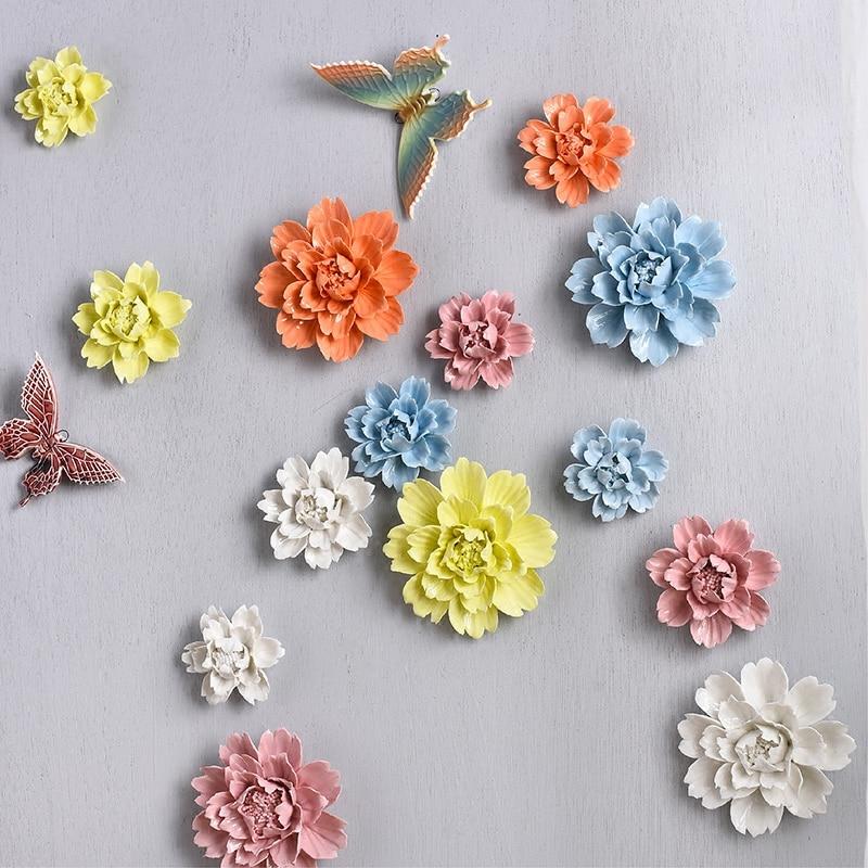 Ceramic Wall Flower Decor: Modern 3D Stereo Wall Ceramic Flowers Crafts Decoration