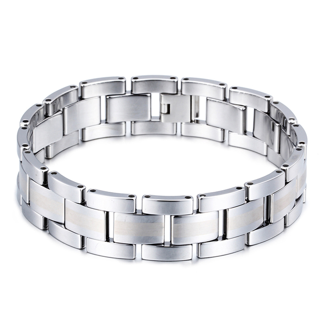 AliLujah Hip Hop Tungsten Men Bracelets Punk Rock Men Jewelry Stainless Steel Wrist ChainS High Quality 21 cm KB61148