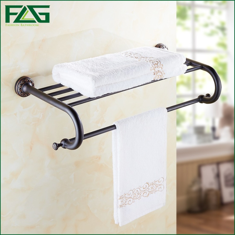 FLG Free Shipping Brass Oil Rubbed Bronze Towel Rack Towel Shelf With Bar Towel Holder Bathroom Accessories Bath Hardware 91310 free shipping ba9105 bathroom accessories brass black bronze toilet paper holder