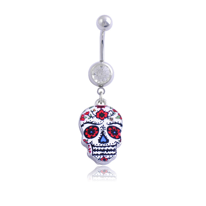 Unique punk 3d painting skull surgical steel belly button for Belly button jewelry store
