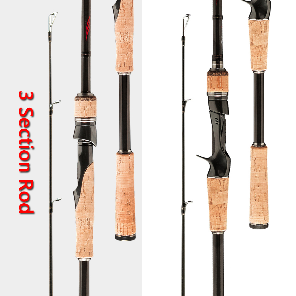 Spinning Casting Lure Fishing Rod Perigee 3 Section Spinning Rod Travel Ultra Carbon Casting Rod 1.8m 2.1m 2.4m 2.7m ML/M/MH