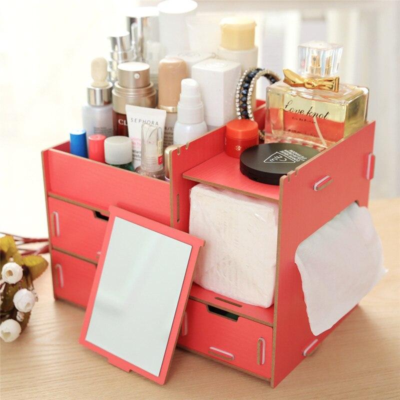 drawer wooden decorative storage boxes creative diy cosmetic storage box office desktop storage shelves racks