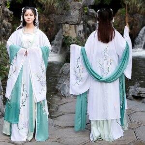 Image 4 - Hanfu Disfraz chino antiguo traje de danza folclórica tradicional para mujer, ropa de la dinastía Tang, disfraz de hada bordada para escenario