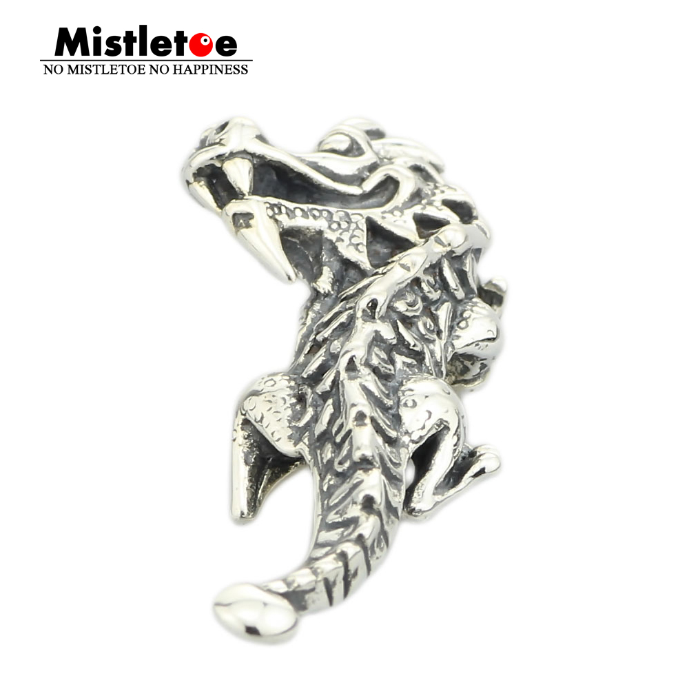 Genuine 925 Sterling Silver Naughty Dragon Pendant Dangle Charm Fits European Troll 3.0mm Bracelet & Necklace Jewelry все цены