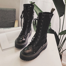 Motorcycle boots women thick bottom boots shoes lady half boots patent leather cashmere shoe lace up black size 35-39 half boots british passport half boots
