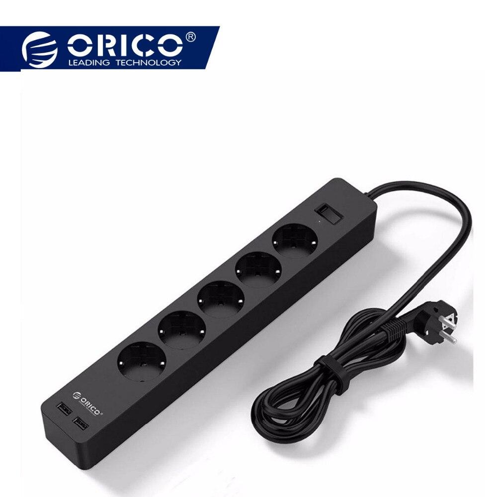 ORICO 3/5 AC + 2 USB Power Streifen Elektronische Buchse Hause Büro Surge Protector EU Stecker hargers Verlängerung Smart Buchse schwarz/weiß