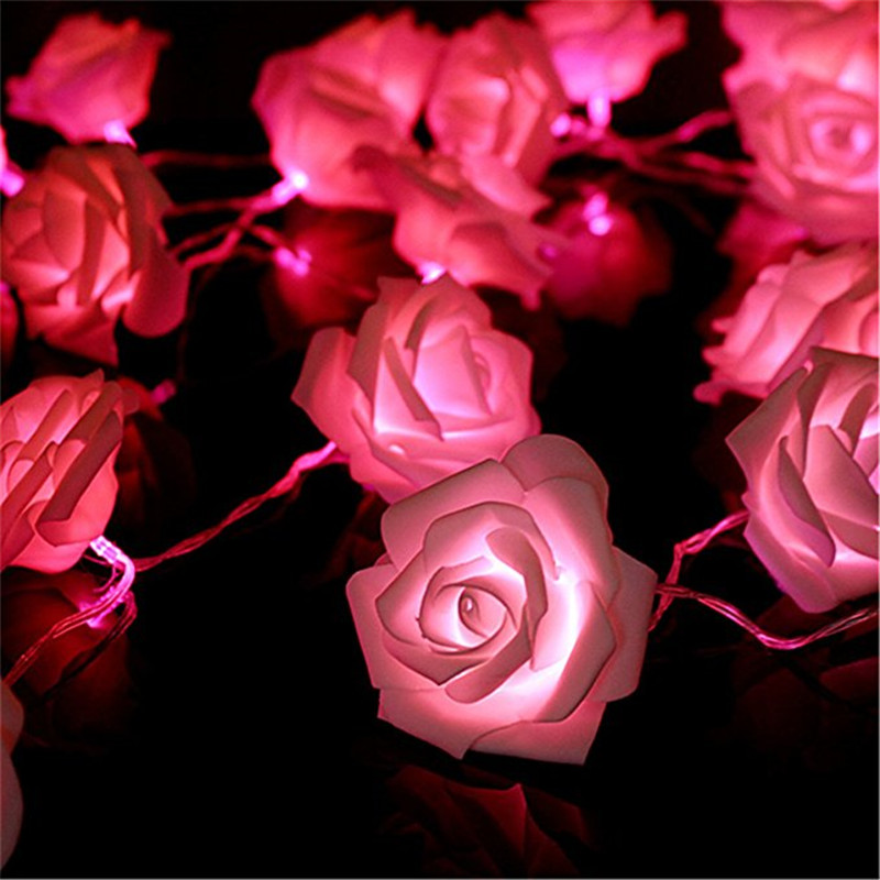 ECLH Rose Flower Festoon LED Lights 20 Leds String Lights Christmas Indoor Decorations For Home Valentines Fairy Light