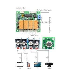 Image 4 - Lusya przycisk przełączania przekaźnika 4 way wejściowy sygnał Audio przełącznik RCA przełącznik Audio wybór wejścia gotowa płyta B7 003