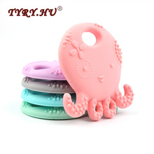 TYRY.HU Octopus silikon Teether BPA percuma silikon loket untuk klip Pacifier DIY Rantaian Soother Baby Teething Toys Hadiah Krismas