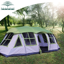 8Persons double layer outdoor family 1hall 1living room house shape team camping tent in good quality and nice version