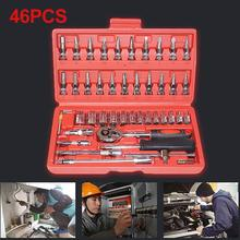 купить 46Pcs Automobile Car Ratchet Wrench Socket Screwdriver Bits Set Repair Tool Kit  Household Motorcycle Car Repair Tool в интернет-магазине