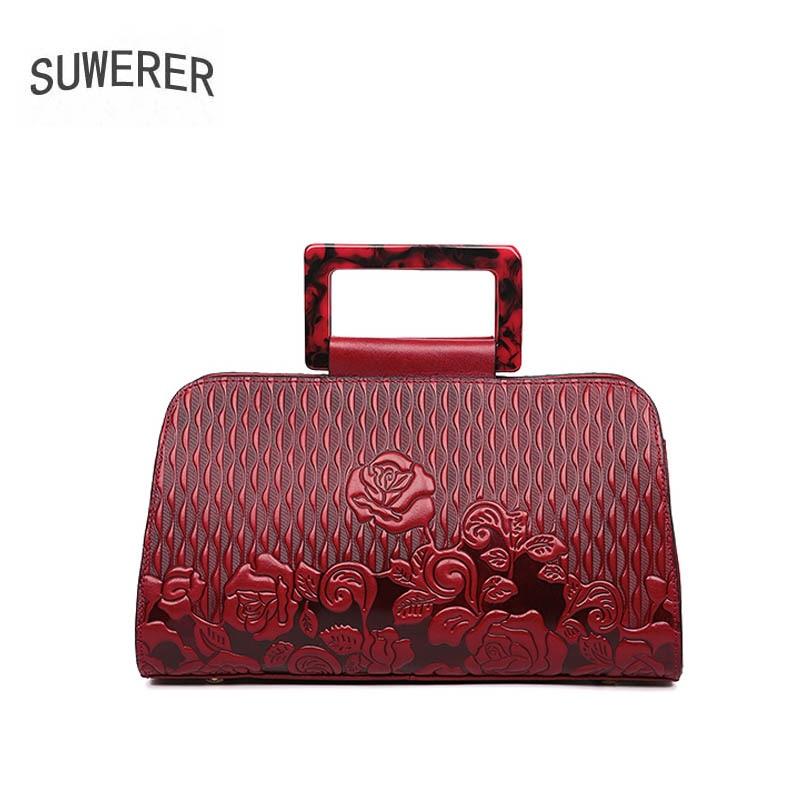 SUWERER 2019 new Genuine Leather women bags Fashion Embossed Flowers luxury handbags women bags designer women leather handbags