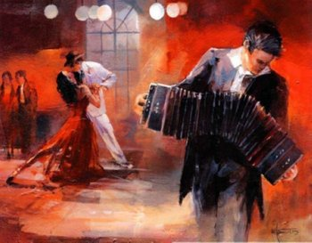 Concert Hall Decoration Famous Spanish Tango Dancer Oil paintings On Canvas Accordion