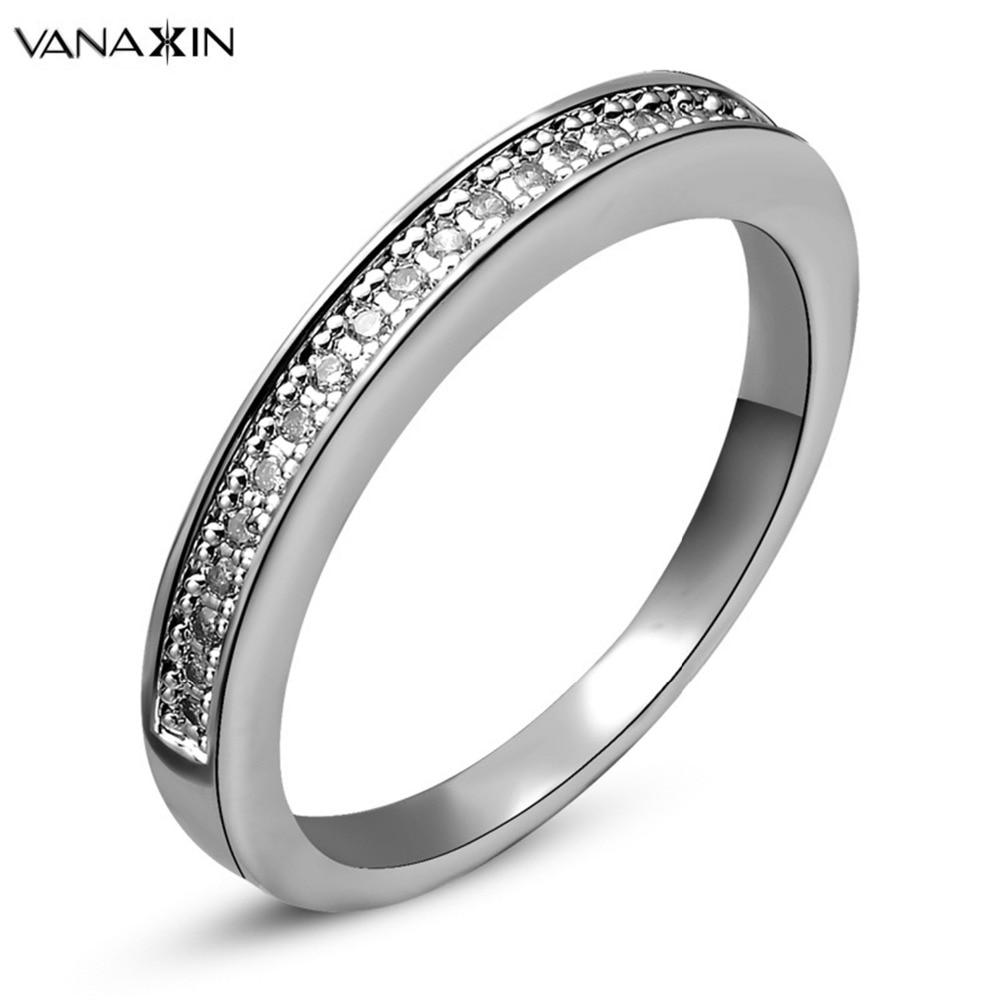 Fashion High Quality White Rose 18K Gold Plated Rhinestones Eternity Band Wedding Ring Bague Femme