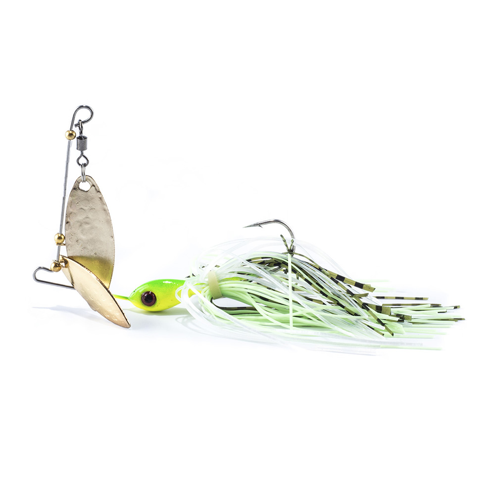 Sealurer spinner bait with 2 blades rubber jig fishing for Spinner fishing lures