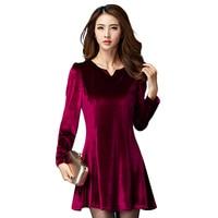 High Quality 2017 New Brand Womens Autumn Vintage Elegant Velvet Dress Winter V Neck Mini A