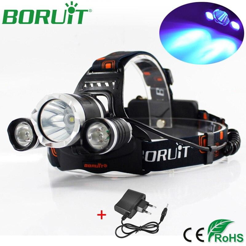 Boruit 5000LM XML T6 R5 LED UV Faro 3-Mode Faro per la Bicicletta Caccia Ultravioletti Viola Frontale Testa Della Lampada Della Torcia