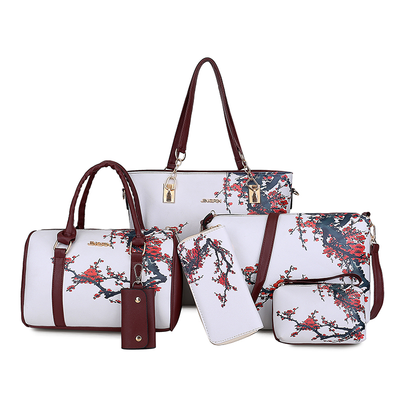 6pcs/lot floral printing women handbags shoulder bags set female practical composite bag high quality pu leather women's bag set pu leather front zip floral shoulder bag