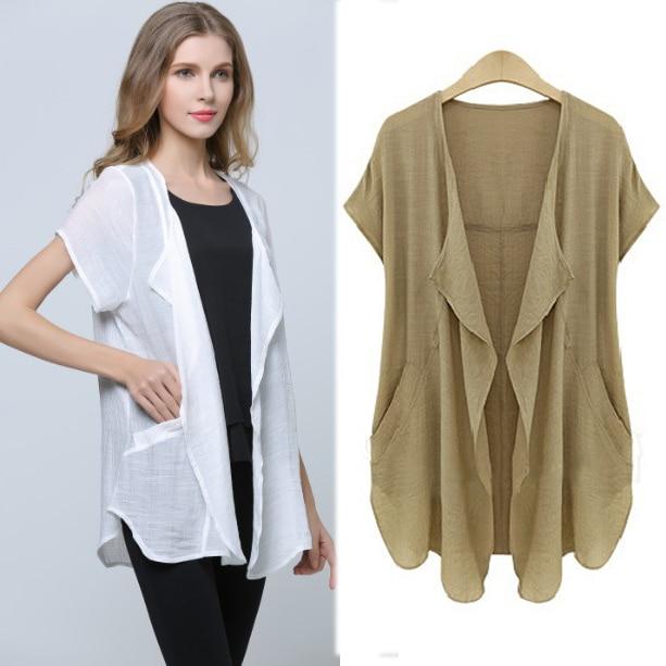 Nifullan Xl 4xl Plus Size Cotton Linen Kimono Shirts Women