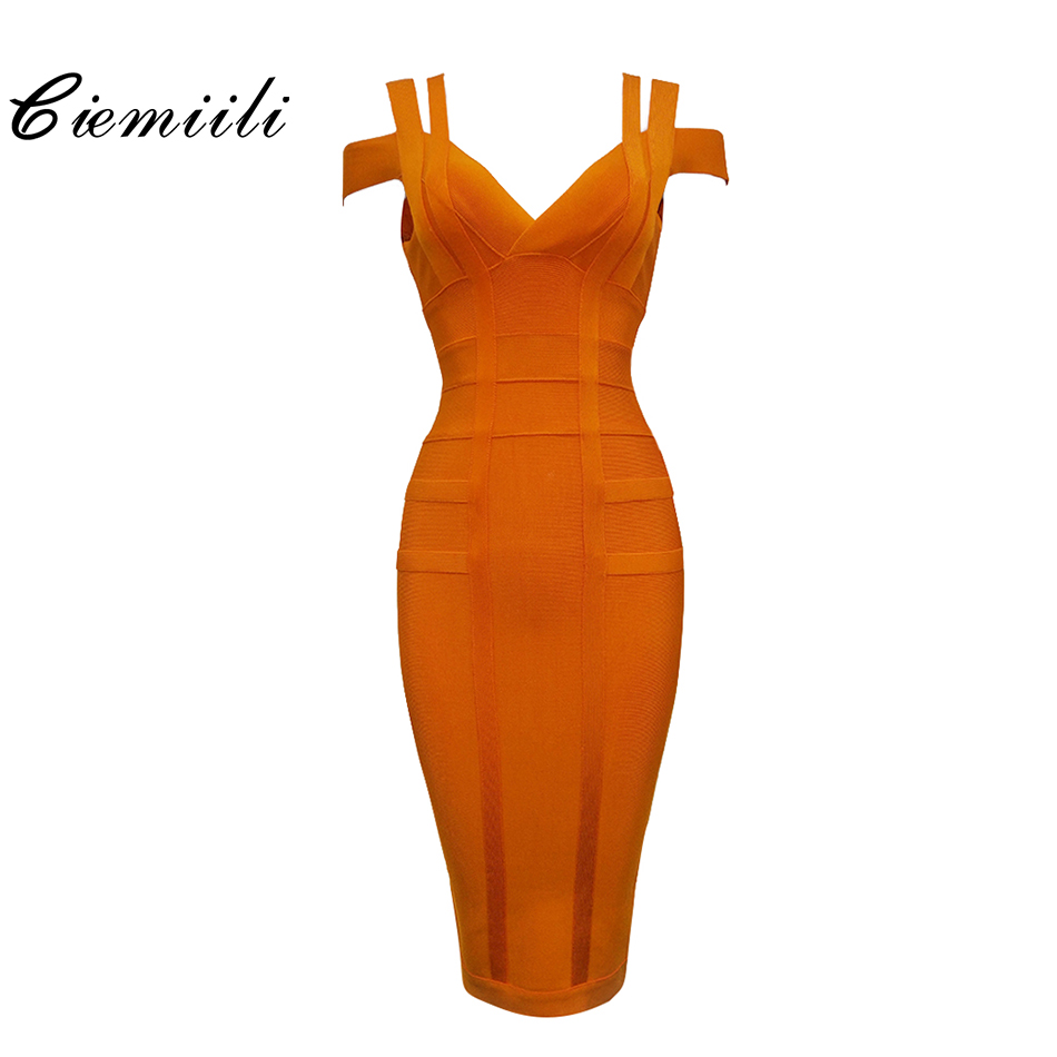 CIEMIILI 2019 Spaghetti Strap Solid Women Bandage Dresses Hollow Out Sleeveless Mid-Calf V-Neck Night Club Fashion Women Dresses