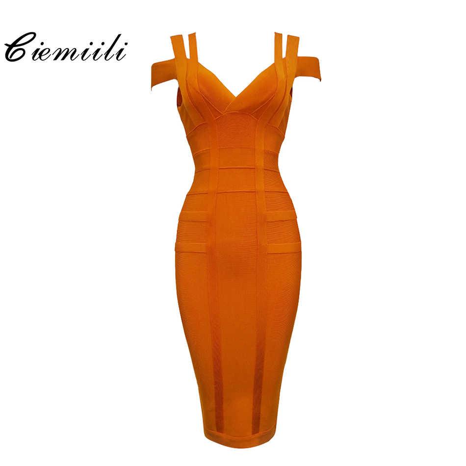 CIEMIILI 2020 Spaghetti Strap Solide Frauen Verband Kleider Aushöhlen Ärmel Mid-Kalb V-ausschnitt Nacht Club Mode Frauen Kleider
