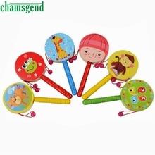 Wooden Rattle Pellet Drum Cartoon Musical Instrument font b Toy b font for Child font b