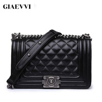 GIAEVVI Brand Design Genuine Leather Bag Women Messenger Bag 2016 New Three Sizes Summer Chain Women