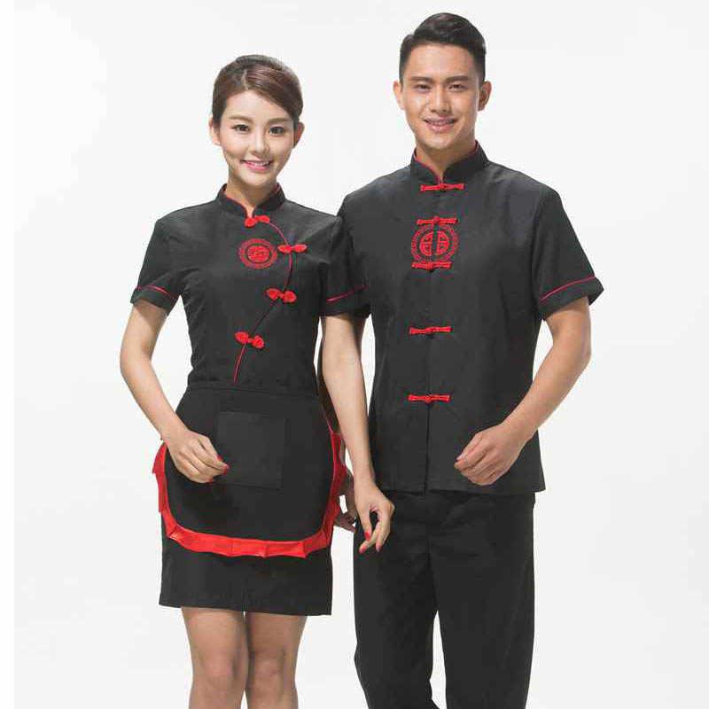 Бесплатная доставка Hotpot Ресторан спецодежды Китайская традиционная Стиль  Красной униформе официанта с фартуком Дешевые Фиолетовый официантка d1d0ffcb359