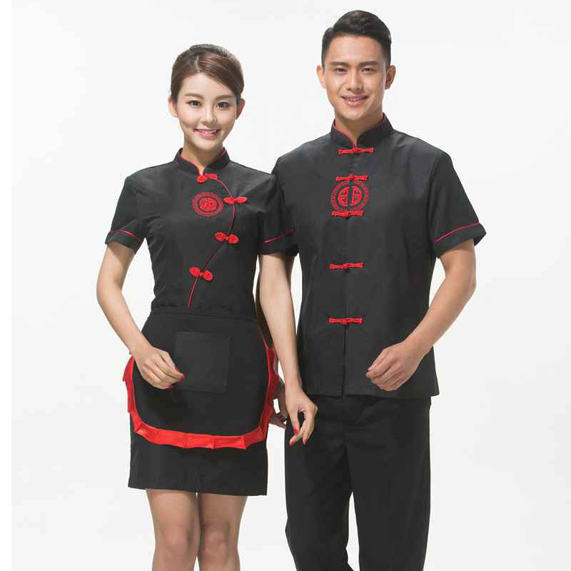 Free Shipping Hotpot Restaurant Workwear Chinese Traditional Style Red Waiter Uniform With Apron Cheap Purple Waitress Shirt