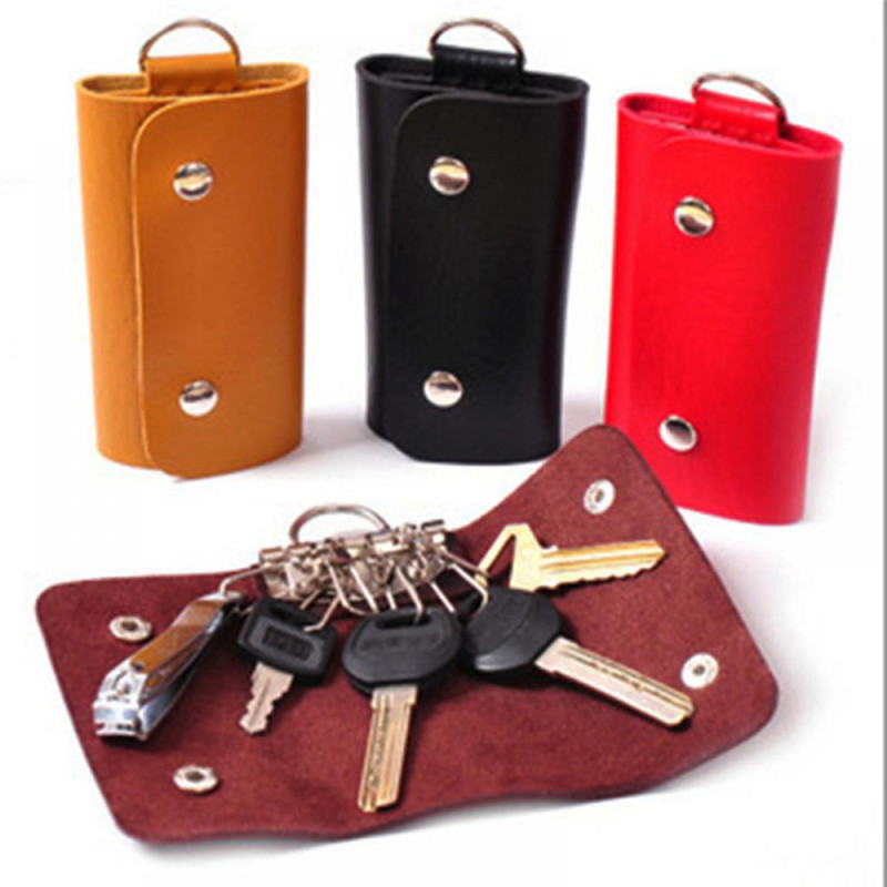 Unisex PU Leather Housekeeper Holders Practical Car Keychain Key Holder Bag Case Wallet Cover