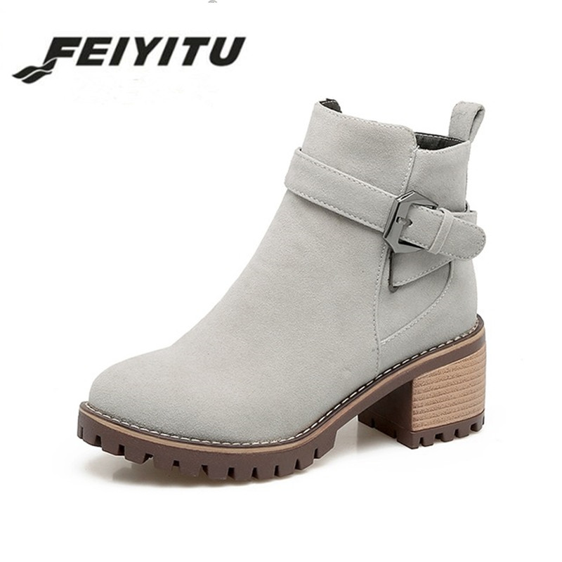Feiyitu Plus Size 34-43 Platform Zip Up Woman Shoes Fashion Square Heels Buckle Black Gray Ankle Boots Western Boot Women