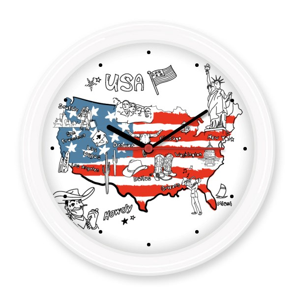 America Map Flag Landmark Statue of Liberty Word  Silent Non-ticking Round Wall Decorative Clock Home DecalWedding Decoration