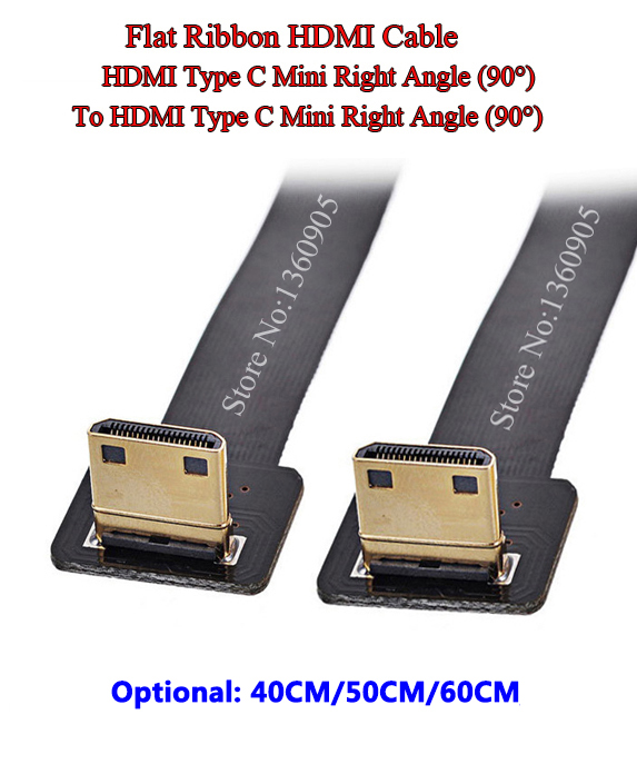 40CM/50CM/60CM FPV HDMI Soft Mini Right Angle 90 Degree Male To Male Right Angle 90 Degree Ribbon FPC Flat Ribbon Cable