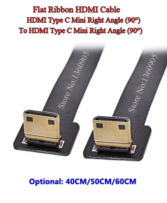 40CM/50CM/60CM FPV HDMI Soft Mini Right Angle 90 Degree Male To Male Right Angle 90 Degree Ribbon FPC Flat Ribbon Cable