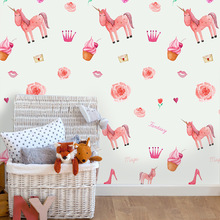 Funlife Pink Unicorn Wall Sticker For Kids Room Decor,Self Adhesive Wallpaper Girl's Gift,Waterproof PVC Furniture Decal Sticker