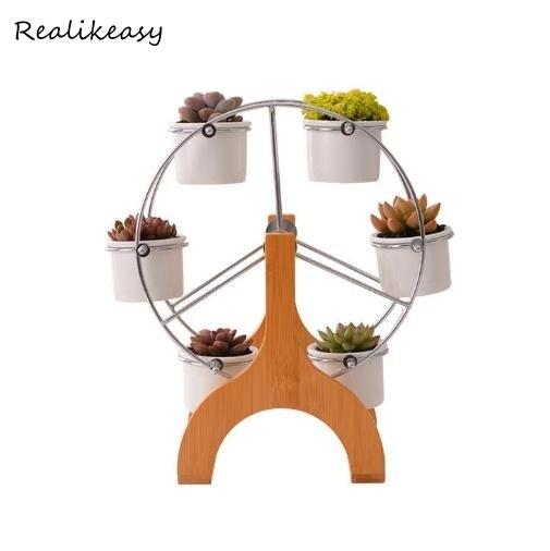 1 Set céramique Pot de fleur Rack plante Support étagère Support pour plantes succulentes fleur grande roue Design créatif jardinières Z527