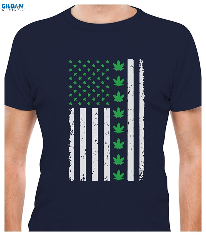 Design t shirt gildan - Gildan Designprinted Tee Shirt Design Weed Day Big American Flag Leafs Weed Flag T