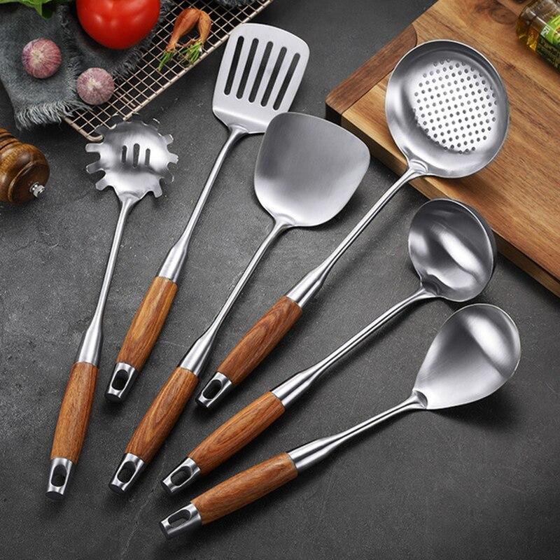 6 pièces/ensemble poignée en bois 304 en acier inoxydable outils de cuisson ensembles cuillère Turner serveur de pâtes ustensiles de cuisine accessoire ustensiles de cuisine