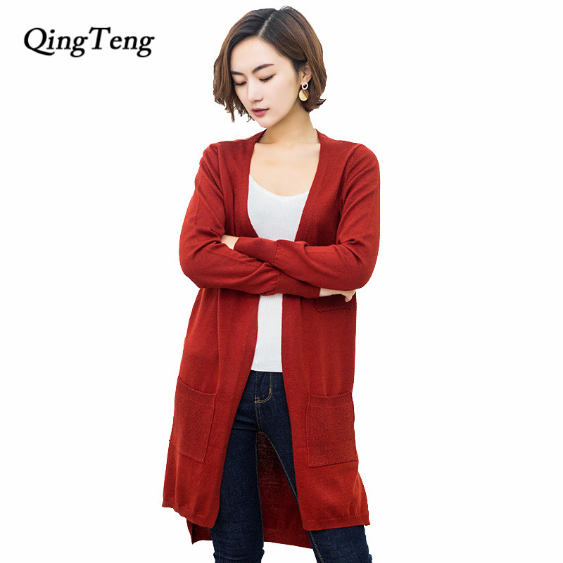 Female Cardigan Long With Pockets Spring Summer New 2018 Korean Style Knitted Cashmere Womens Sweaters Black Blue Design