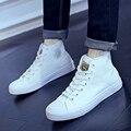 Nueva Primavera/Otoño Mujeres de Los Hombres Zapatos Casuales Transpirable Negro en forma de bota con cordones Zapatos unisex de Moda Blanco Pisos de los hombres 36-44