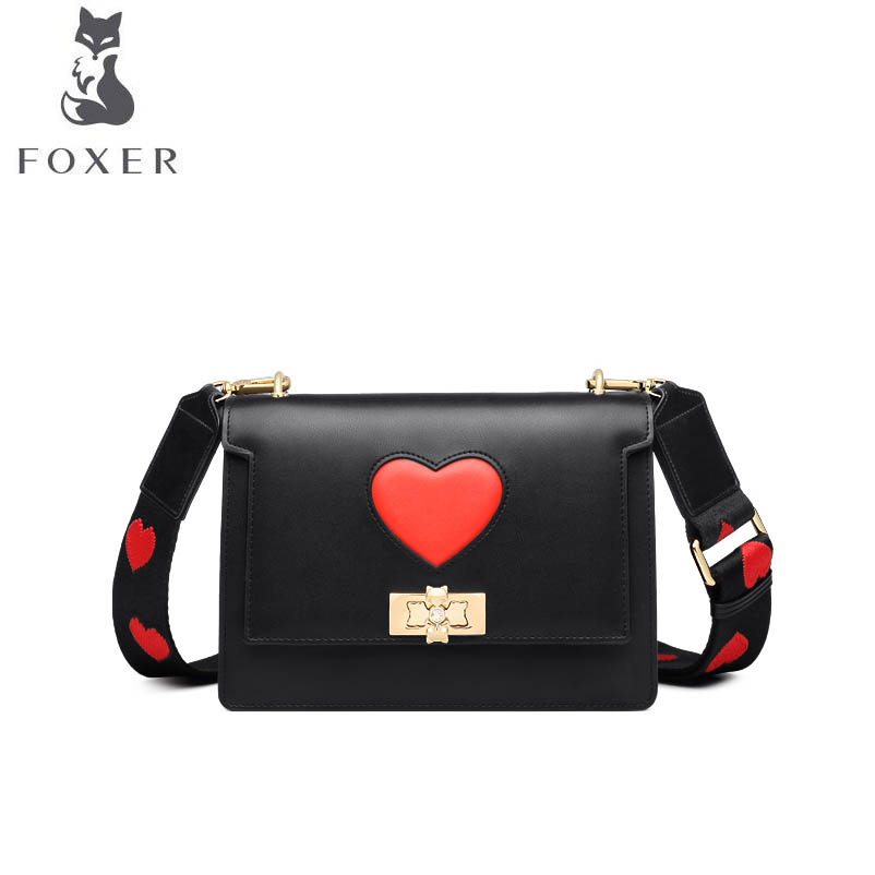 FOXER 2018 New women Leather bag fashion luxury handbags women famou brand Simple small bag women leather shoulder Crossbody Bag 2018 new foxer brand women leather bag high quality fashion chains women shoulder messenger bag cowhide black simple small bag