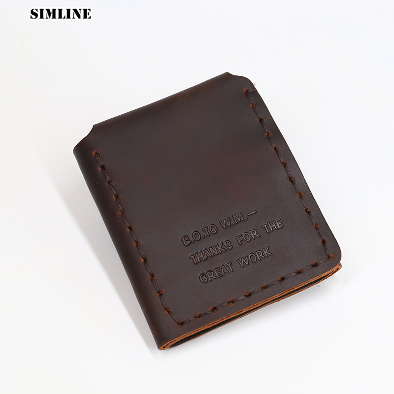 SIMLINE Genuine Leather Men Wallet Vintage Handmade Crazy Horse Cowhide The Secret Life Of Walter Mitty Wallet Short Male Purse