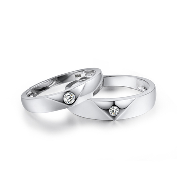 Natural Diamond Solid 18K White Gold Couple's Wedding Bands  3