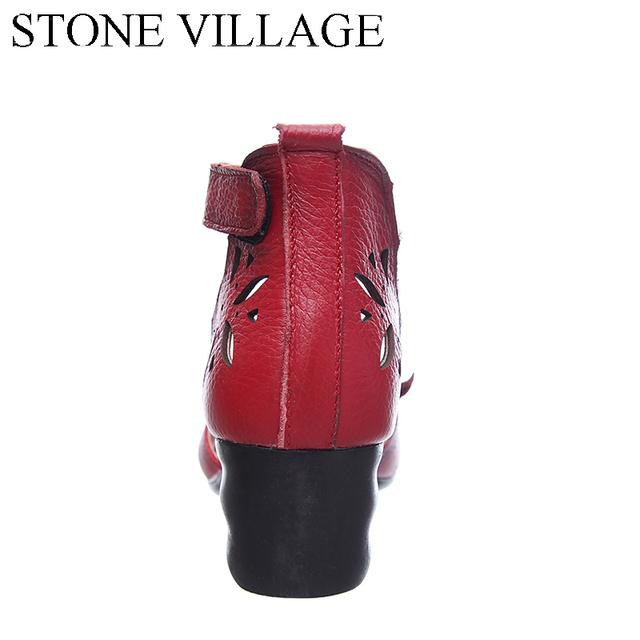 2017 Genuine Leather Ankle Strap Sandals Women Square Heel Elegant Dress Shoes Handmade Flower Vintage Summer Shoes Size 35-40