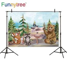 Funnytree backgrounds for photo studio woodland forest animal friend cartoon birthday children photography backdrop photocall