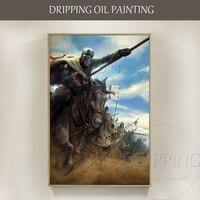 Top Artist Handmade Luxury Artwork Medieval War Oil Painting on Canvas Handmade Medieval War Cavalry Assault Oil Painting