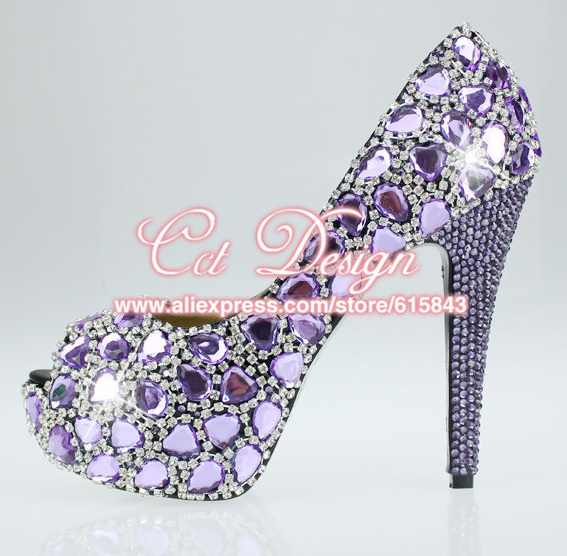 Handmade FASHION Women Shoes Sparkly CRYSTAL Purple Dress