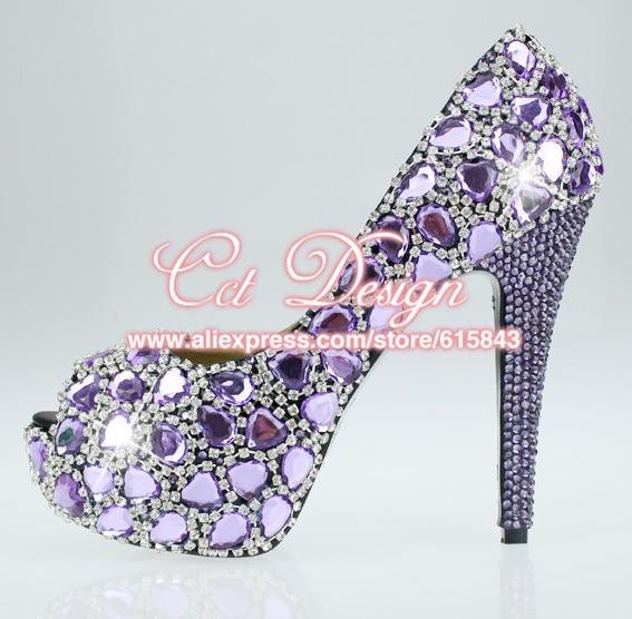 b9ab3661f8d9 Handmade FASHION women shoes sparkly CRYSTAL Purple Dress Shoes high Heel  comfortable wedding shoes peep toe