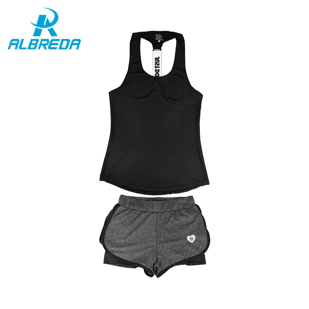 ALBREDA New Women Yoga Sport Suit 2 Piece Female sleeveless sets Summer Outdoor perspiration wicking Sportswear Running Clothes